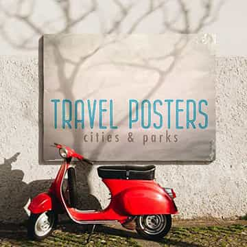 travel posters store display small