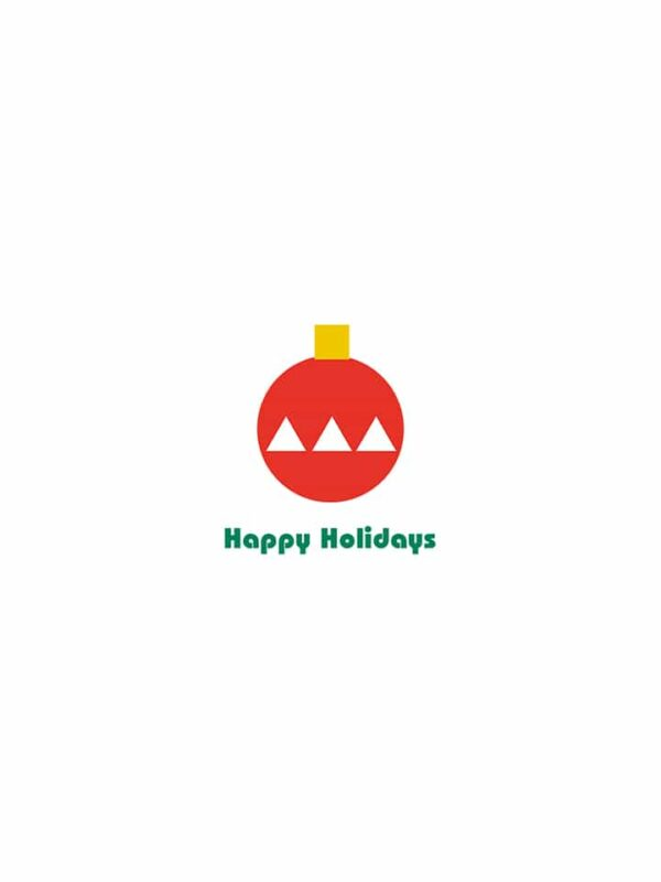 Bauhaus style Holiday Card ornament lettering