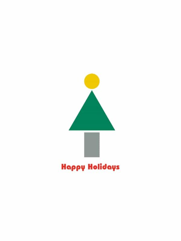 Bauhaus style Holiday Card tree lettering